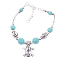 1 PCS Tibetan Silver Plated Mixed Round Turquoise Beads Skull Charm Bracelet Vogue Elegant Vintage Jewelry Length Adjustable