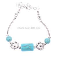 1 PCS Tibetan Silver Plated Mixed Turquoise Beads Charm Bracelet Vogue Elegant Vintage Jewelry Length Adjustable