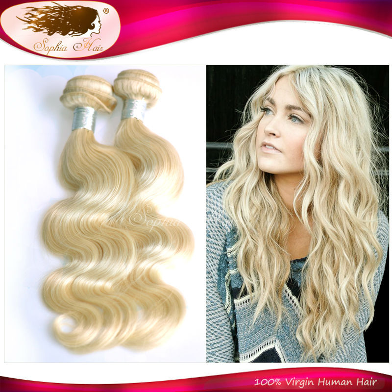 2015 New Blonde Brazilian Hair Body Wave Blond Virgin Human Hair Weav 2Pcs/Lots Brazilian Virgin Hair Bodi Wave Color #613 Hair(China (Mainland))