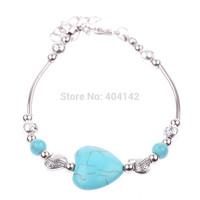 1 PCS Tibetan Silver Plated Mixed Heart Turquoise Beads Bracelet Vogue Charming Elegant Vintage Jewelry Length Adjustable