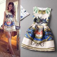 One-Piece Dress 2015 Spring Summer Vintage Print Slim Sleeveless Vest Basic Plus Size Dresses Dobby High Waist  Fashion clothing