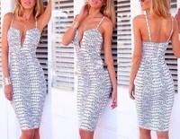 Free Shipping new Fashion 2015 high quality rift printed V-neck mid dress sexy club party dresss  bandage bodycon dress  DD50009