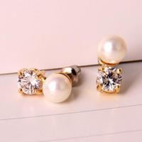 Pearl 18K Real Gold Plated Austria Crystal Earrings Czech rhinestone good quality   earrings X06291A-C24682B6