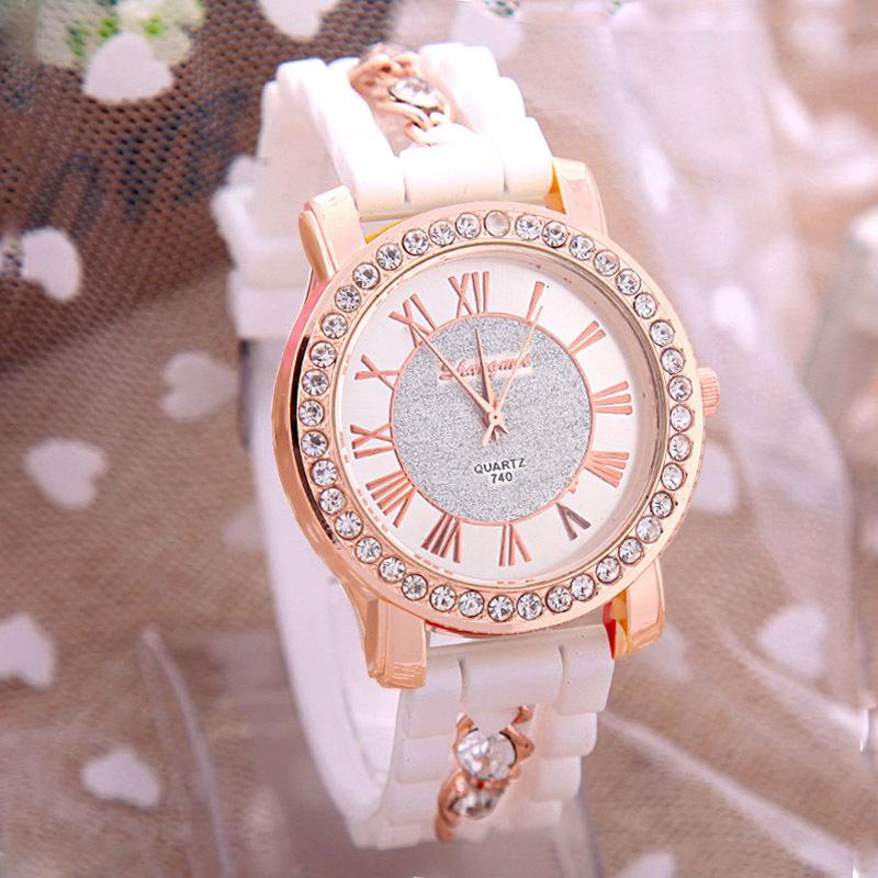 Shocked Quartz Crystals Fashion Crystal Luxury Wristwatches Relgio Beige Reloj Analog Quartz Dress