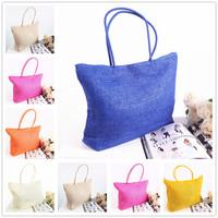 Summer Straw Beach Bags Candy Color Handbags Bolsas de Praia Femininas Women's Casual Large Shoulder Tote