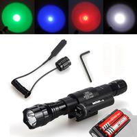 FreeShipping Ultrafire 501D 1200 Lumens CREE XM-L T6 LED Flashlight Torch Red Laser Mount Hunting gun flashlight battery charger