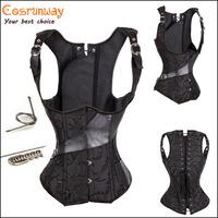 Plus Size Black Steel Boned Lace up back steampunk corset front busk closure jacquard stripe boned gothic bustier
