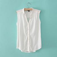 2015 FASHION Elegant Women Blouse Solid Color V-Neck Casual Top Tank Sleeveless Comfy Chiffon Shirt size S/M/L