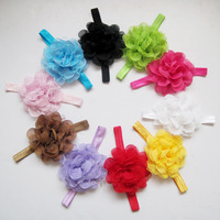 New Design Girl Elasric Headbands Shabby Lace Chiffon Flower Headband Baby Kids Hair Bows Baby Hair Accessories FS196