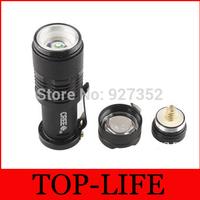 50pcs/lots LED Flashlight Torch Light 300LM Mini CREE Q5 Adjustable Focus Zoom flash Lamp With charger plug