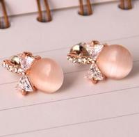 opals bow 18K Real Gold Plated Austria Crystal Earrings Czech rhinestone fashion   earrings X06157-C24682B8