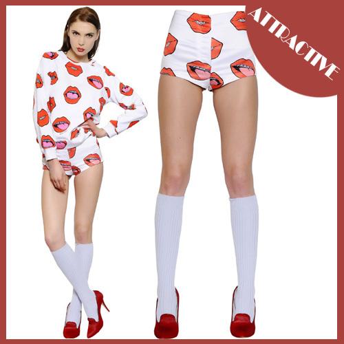2015 New Sexy Red Lips Printing Shorts Low Waist Super Short Hot Women's Clothing Drop & Free Shipping MC-1142(China (Mainland))