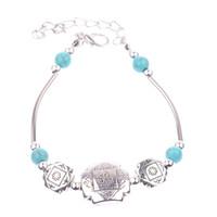 1 PCS Tibetan Silver Plated Mixed Turquoise Beads Charm Bracelet Vogue Charming Elegant Vintage Jewelry Length Adjustable