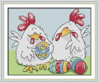 precise printed canvas cross stitch kit for home decoration Cocks Colorful Egg embroidery pattern 11ct needlework set unfinished