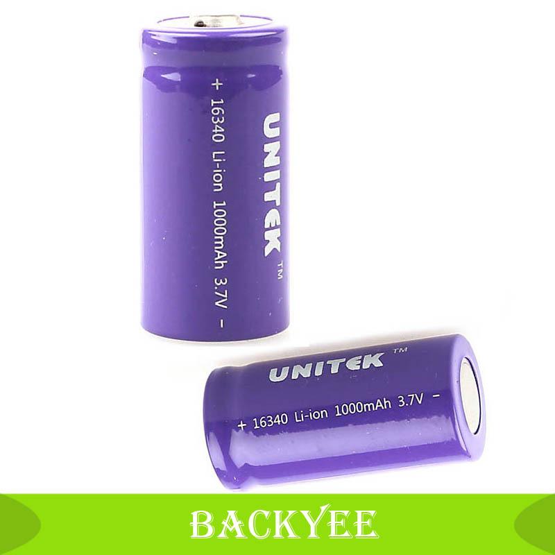 Guaranteed 100% UNITEK 1000mAH 1000mAH CR123A 123A 16340 Rechargeable 3.7V Li-ion Battery For Flashlight Direct shipping(China (Mainland))
