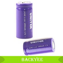 Guaranteed 100% UNITEK 1000mAH 1000mAH CR123A 123A 16340 Rechargeable 3.7V Li-ion Battery For Flashlight Direct shipping