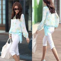 Women Fashion Shirt Printing Translucent Hem Crew Neck Casual Elegant Comfy Lace Long-Sleeved Chiffon Blouse BLUE/RED Top