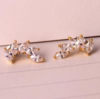 zircon feather 18K Real Gold Plated Austria Crystal Earrings Czech rhinestone fashion   earrings X0632ZD-C24682B8