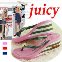 Wholesale 2015 new summer women flip flops slippers female Gingham high heels sandals platform wedges slippers beach Shoes