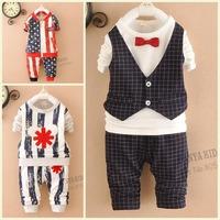 2015 new baby boys sets 2pc pullover+pants harem stripe star kids suits children sets
