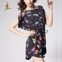 new large code dress bat sleeve Bird Print Chiffon Dress burst shall with beltabove knee natural casual dress LY0001
