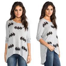New 2015 fashion t shirt women tops batman print long sleeve loose causal t-shirt women clothing Plus size(China (Mainland))