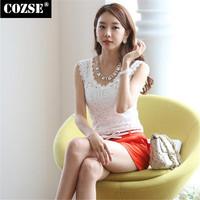2015 New  Fashion Summer Slim Size Sleeveless Lace  Women Tanks  Korean Style Free Shipping L3109