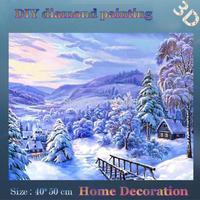 DIY Full diamond embroidery Quiet Snowy mountains village diamond pattern needlework gift home decor flowers wall art decor