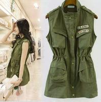 2015 FASHION Trendy Stand-up Collar Multi-Pocket Zipper Elastic Waist Drawstring Sleeveless Women Vest Metal Buttons Long Coat