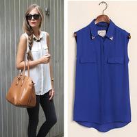 Sleeveless Woman Shirts Summer Blusas Femininas Newest Fashion Blouses Polyester Cotton Women Tops Solid Cheap Clothing China
