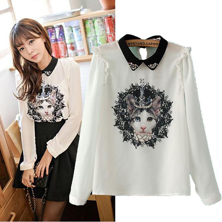 Spring new Korean Beaded doll collar Miss Kitty printing long sleeved chiffon women's blouse shirt(China (Mainland))