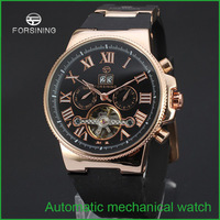 2015 Forsining Men's wrist watch with gift box JARAGAR Luxury Auto Mechanical Watches 4 Hands Date Tourbillon Mens Free Ship