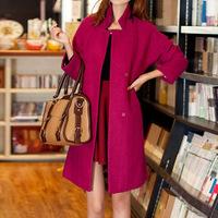 Korean Plus Size Woman Exclusive New Long Winter Woolen Coat, Elegant Slim Overcoat, Femal Woollen Coat, Lapel Collar Outerwear