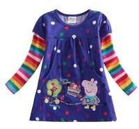 New Arrival 2015 Baby Girls Cartoon Peppa Pig Gilrs T Shirt Kids LONG Sleeve T-shirt Children Summer Tops Tee Kids Wear