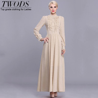 Twods 2015 new spring solid beige sweet Ruffles long puff sleeve O-neck elegant maxi dress for women long party dress
