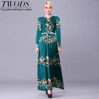 Twods 2015 new arrival Vintage green print women summer dress silk long sleeve slim brand design long party dress