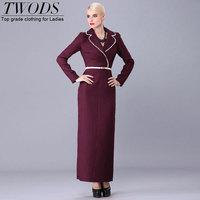Twods 2015 new marsala solid sexy tight dobby maxi dress slim long sleeve elegant office lady turn down collar long decent dress