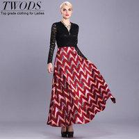 Twods 2015 new patchwork lace dress long sleeve O-neck zipper open fashion swing party long dress women maxi A-line print dress