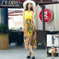 Twods 2015 new women summer dress floral print summer long breach dress sleeveless Sexy v-neck slim dress high quality clothing