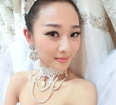 Colour bride necklace princess dreams handmade lace necklace pearl tassel marriage accessories wedding accessories