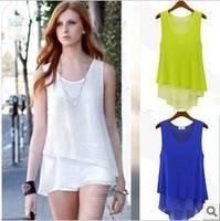 new 2015 hipster chiffon dress beauty candy-colored chiffon camisole bottoming shirt feminino  Free shipping  FB0113