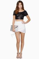 Women T Shirt Backless O-Neck Tops Short Sexy Casual Women Crop Tops Sequins Four Colours 2015 Fashionable Free Shipping T Shirt