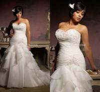 Bridal Dress Elegant Gown Mermaid Pleats/Appliques Zip Up/Lace Up Organza Plus Size Wedding Gowns 2015