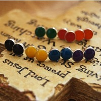 C24R11C Wholesale 12pair/lot Fashion Cheap Jewellery  Sainbow Small stud earrings