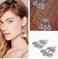 Antique Silver Coin Drop Earrings Ethnic Dangle Earrings Bohemia Earrings New Fashion Jewelry Women BJE98585
