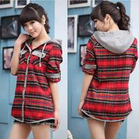 FASHION Blouse Women'S Shirt Hooded Two Pocket Long Sleeve Package Edge Hem Single-Breasted Plaid Casual Women Shirt SIZE M/L/XL