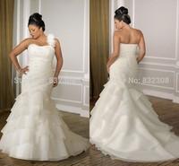 Top Online Vestidos De Novia Mermaid One Shoulder Beading/Pleat Lace Up Organza Plus Size Wedding Dress 2015