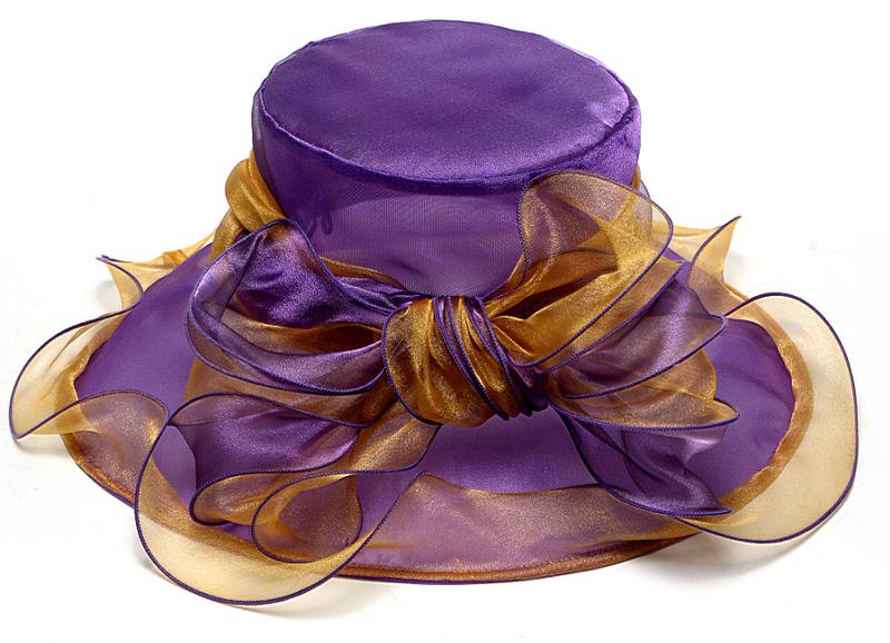 Noble summer women purple organza hats wide brim sunhats Kentucky Derby hats Wedding Church hats Party sunbonnet beach chapeau(China (Mainland))