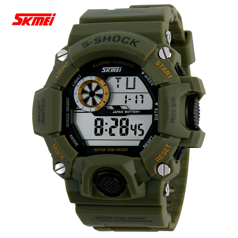 2015 New Skmei Sport Men Brand S Shock Watches Clock Outdoor Quartz LED Digital Casual Male Dress Watches Military Wristwatches(China (Mainland))