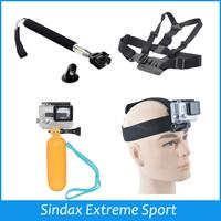 For Gopro SJ4000 Monopod Tripod Mount Adapter+Float Bobber+Chest Belt + Head Strap For Gopro Hero1 2 3+ 4 3 SJ4000 Accessories